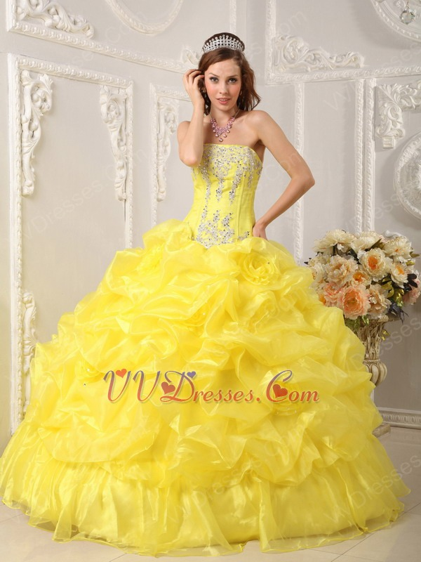 Bright Yellow Bubble Skirt Quinceanera Dress