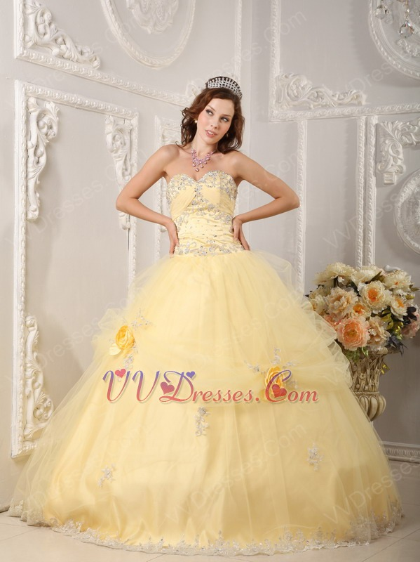 Yellow Quinceanera Handmade Dress With Appliqued Bottom