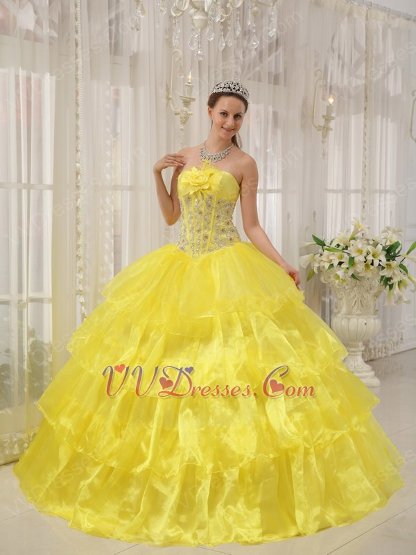 Bridesmaid dresses in canary yellow